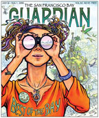 Cover of The San Francisco Bay Guardian with a drawing of a women wearing a shirt that says Best of the Bay.
